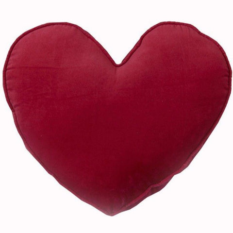 Raspberry Velvet Heart Shaped Cushion
