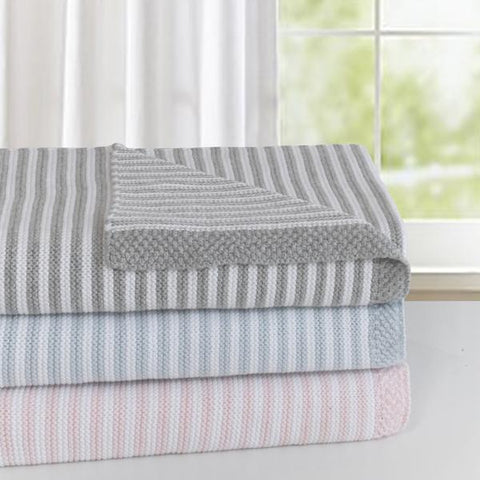 100% Cotton Knit Stripe Baby Blanket- three great colour combinations.