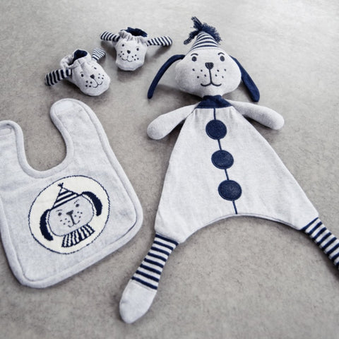 3 Piece Wilbur Dog Newborn Toy Soother Bib and Booty Set
