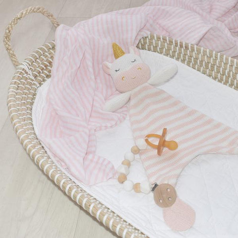 Kenzie Unicorn Cotton Knit Baby Soother Security Blanket