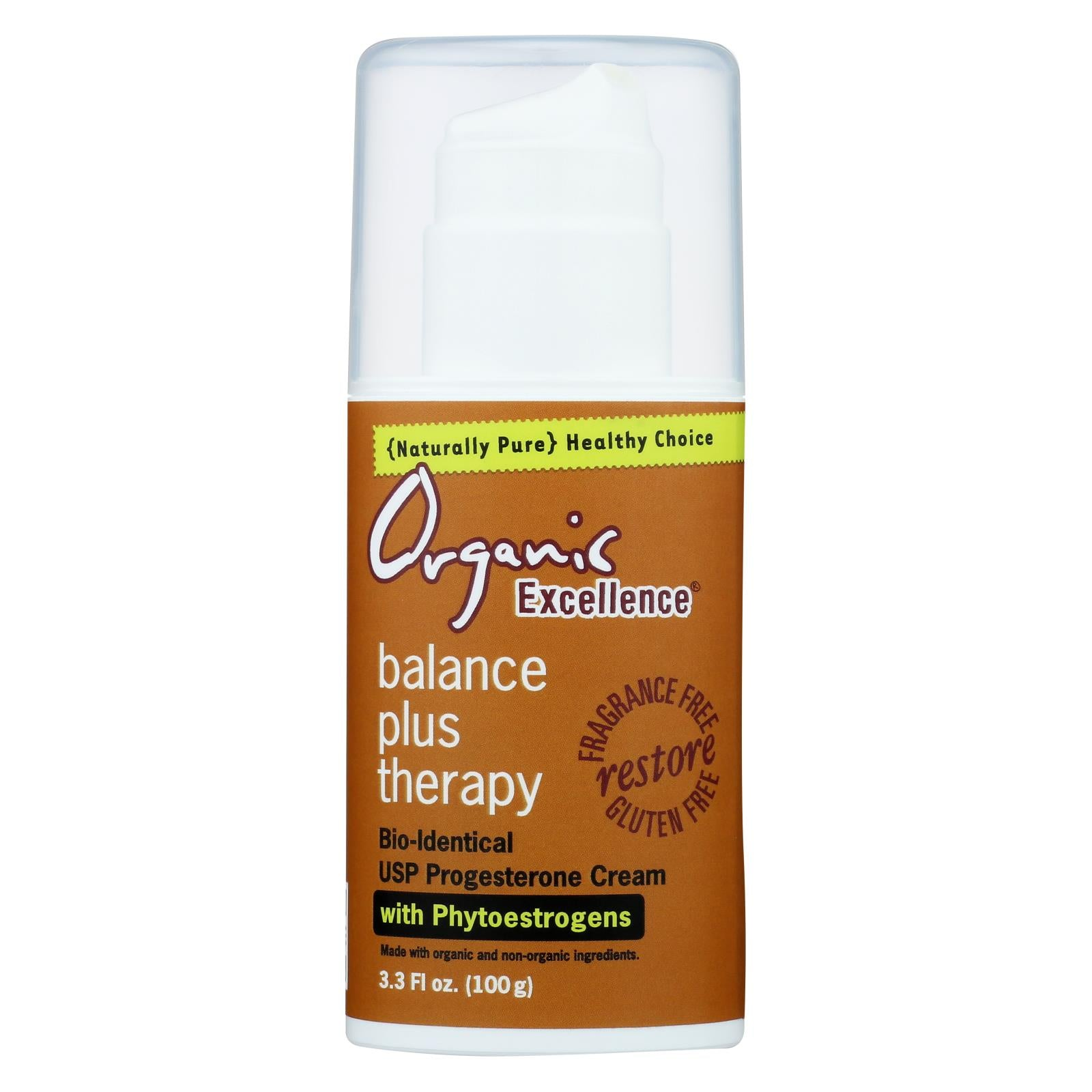 Organic Excellence Balance Plus Therapy Bio-identical Progesterone Cream With Phytoestrogens - 3 Oz HG0134585