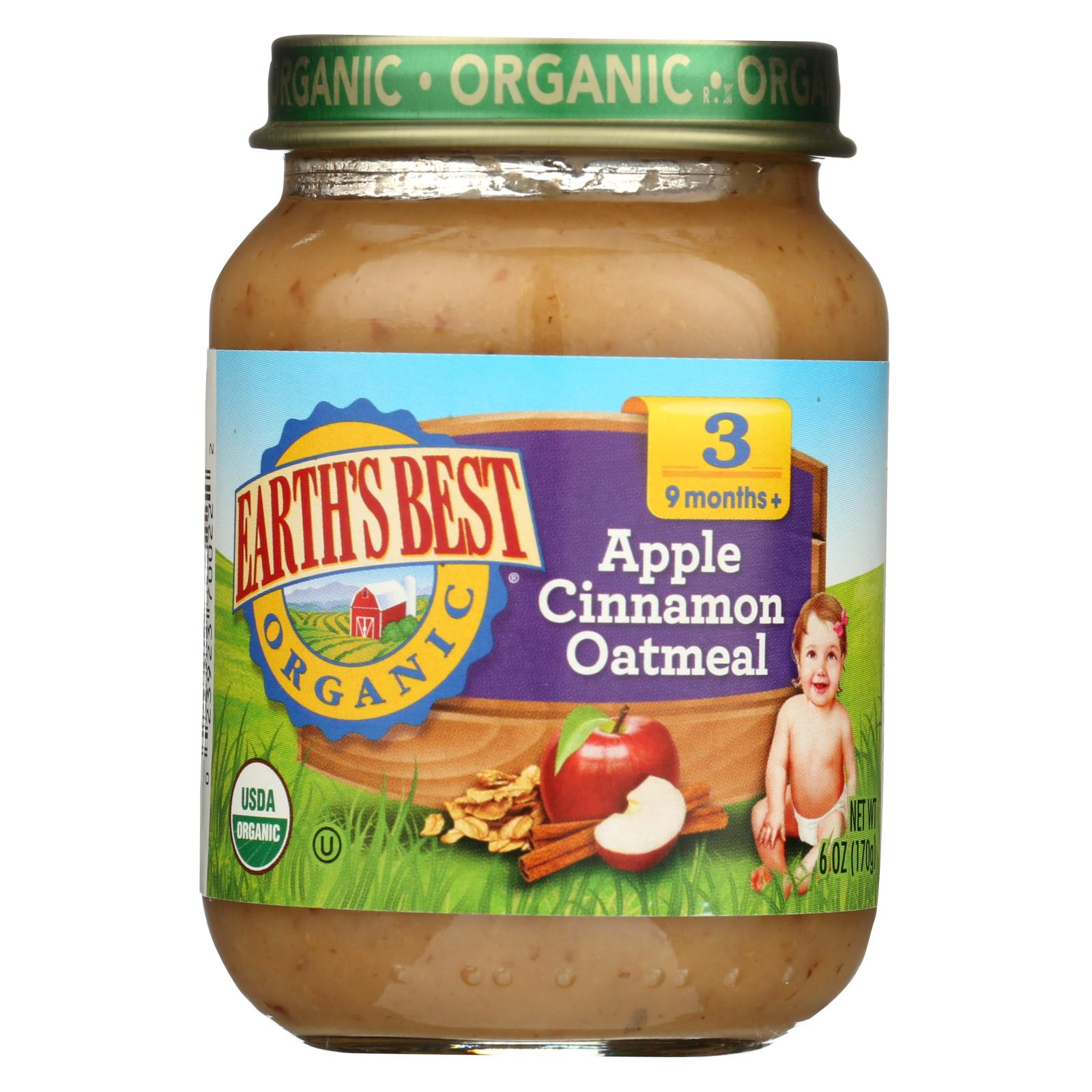Earth's Best Organic Apple Cinnamon Oatmeal Baby Food - Stage 3 - Case Of 12 - 6 Oz. HG0177048