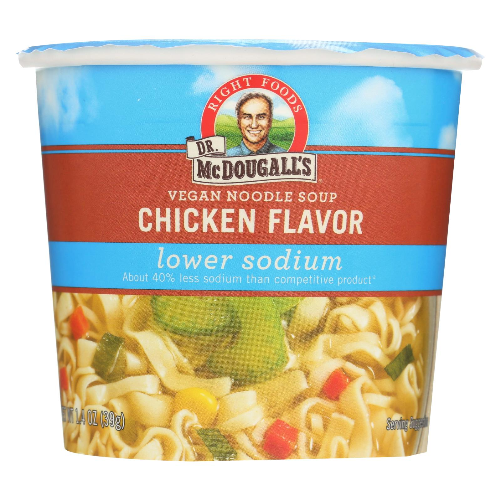 Dr. Mcdougall's Vegan Noodle Lower Sodium Soup Cup - Chicken - Case Of 6 - 1.4 Oz. HG0212522