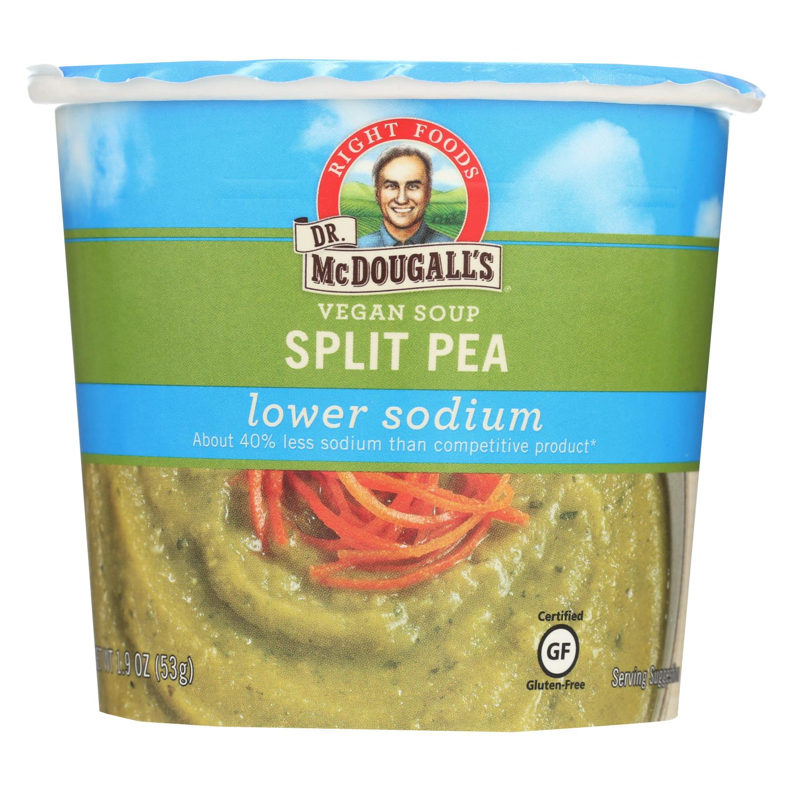 Dr. Mcdougall's Vegan Split Pea Lower Sodium Soup Cup - Case Of 6 - 1.9 Oz. HG0212530