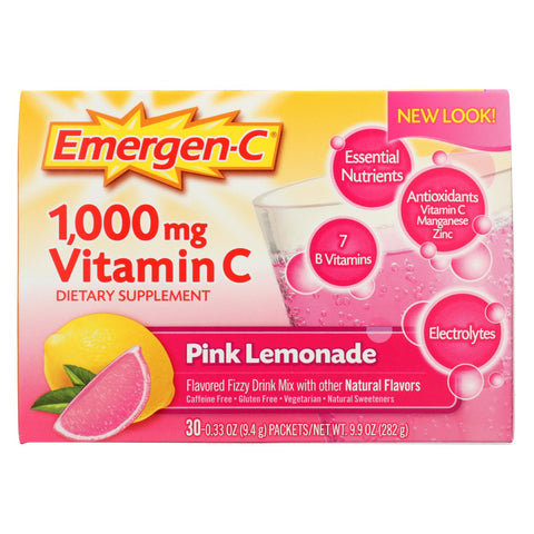 Alacer Emergen-c Vitamin C Fizzy Drink Mix Pink Lemonade - 1000 Mg - 30 Packets - The Green Life