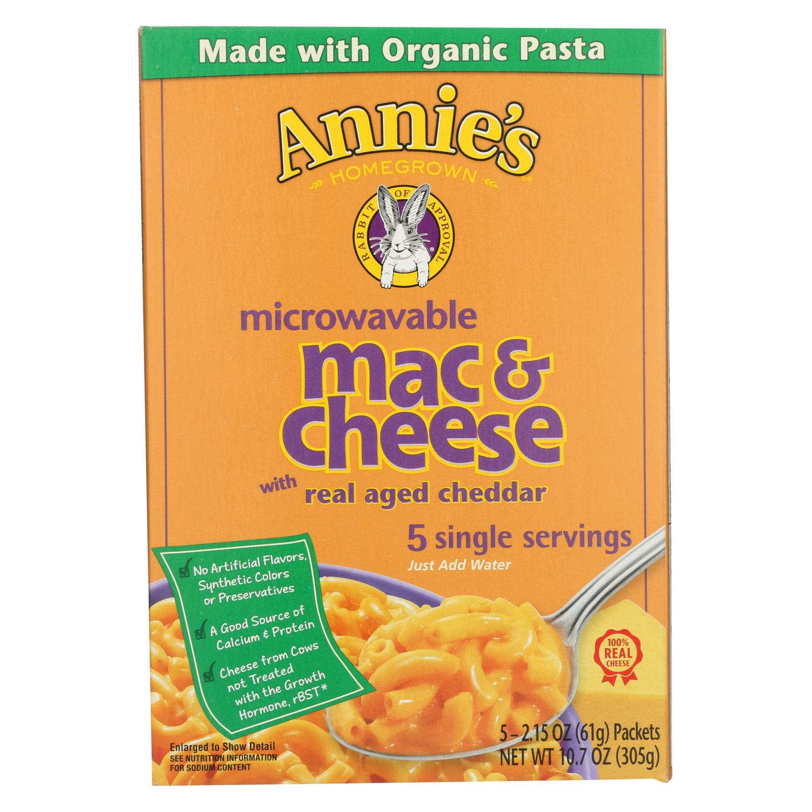 Annie's Homegrown Microwavable Mac And Cheese With Real Aged Cheddar - Case Of 6 - 10.7 Oz. HG0374256