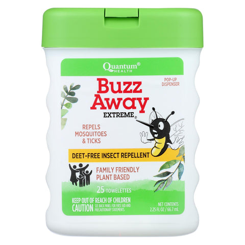 Quantum Buzz Away Extreme Repellent Pop-up Towelette Dispenser - 25 Towelettes