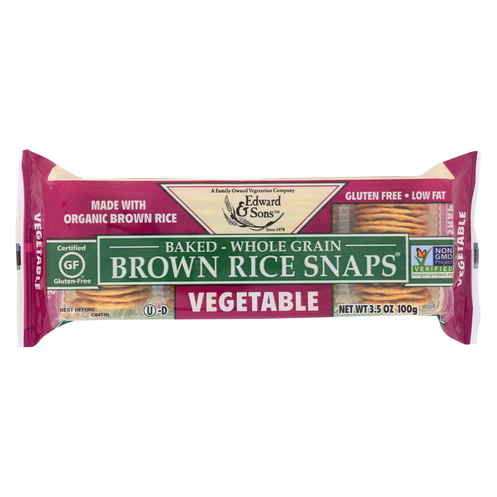 Edward And Sons Organic Vegetable Brown Rice Snaps - Case Of 12 - 3.5 Oz. HG0436121