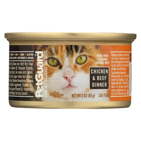 Petguard Cats Food - Chicken And Beef Dinner - Case Of 24 - 3 Oz.