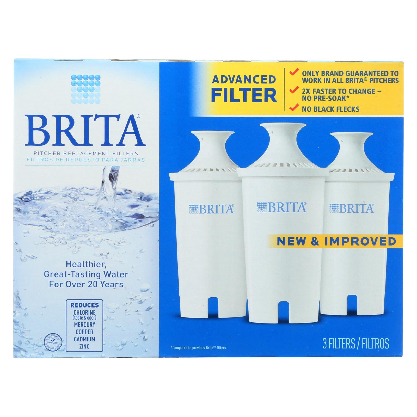Brita Replacement Pitcher And Dispenser Filter 3 Pack HG0470864