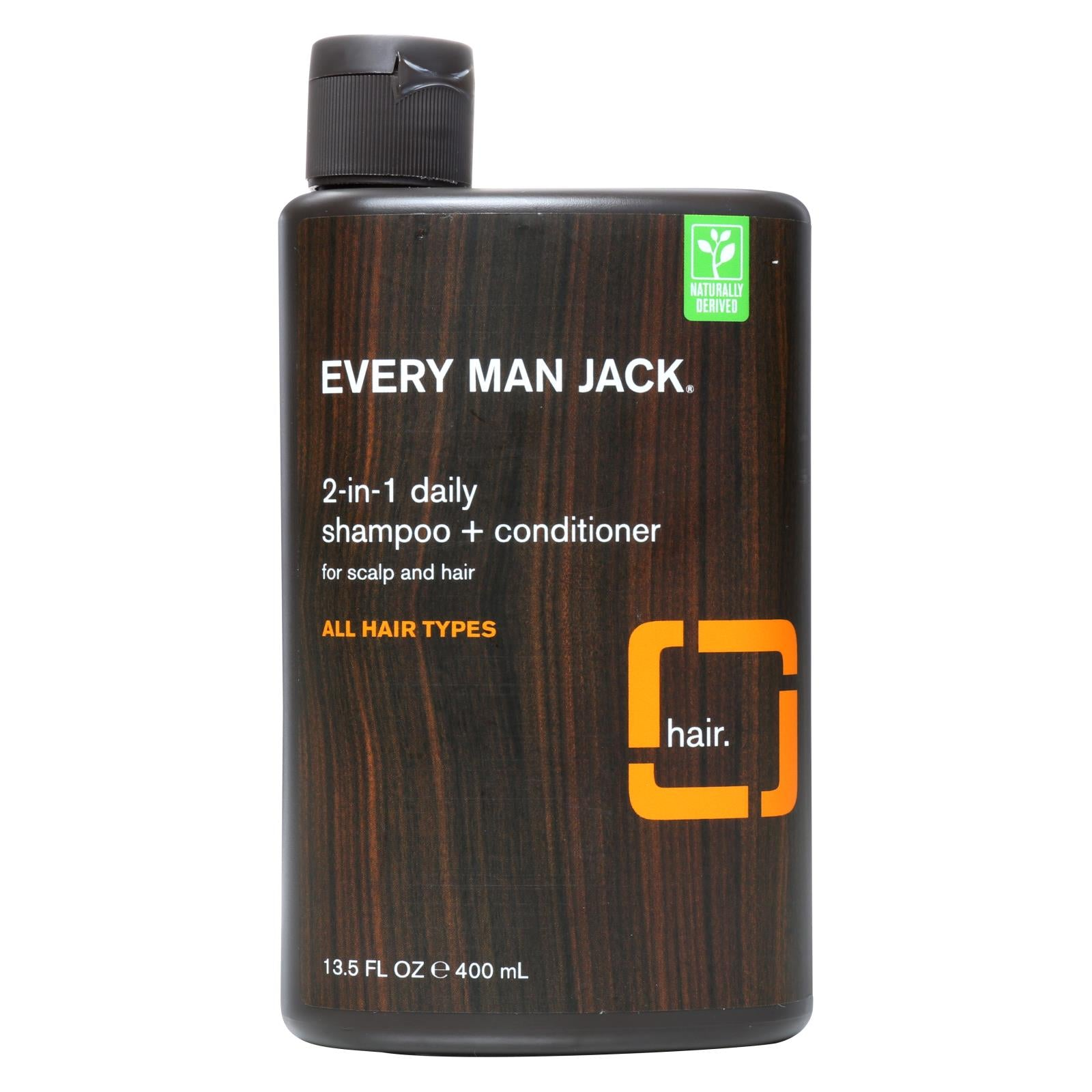 Every Man Jack 2 In 1 Shampoo Plus Conditioner - Daily - Scalp And Hair - All Hair Types - 13.5 Oz HG0516450