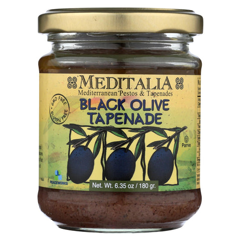 Meditalia Black Olive Tapenade Spread - Case Of 6 - 6.35 Oz.