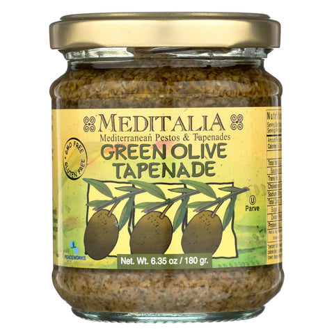 Meditalia Tapenade Spread - Green Olive - Case Of 6 - 6.35 Oz