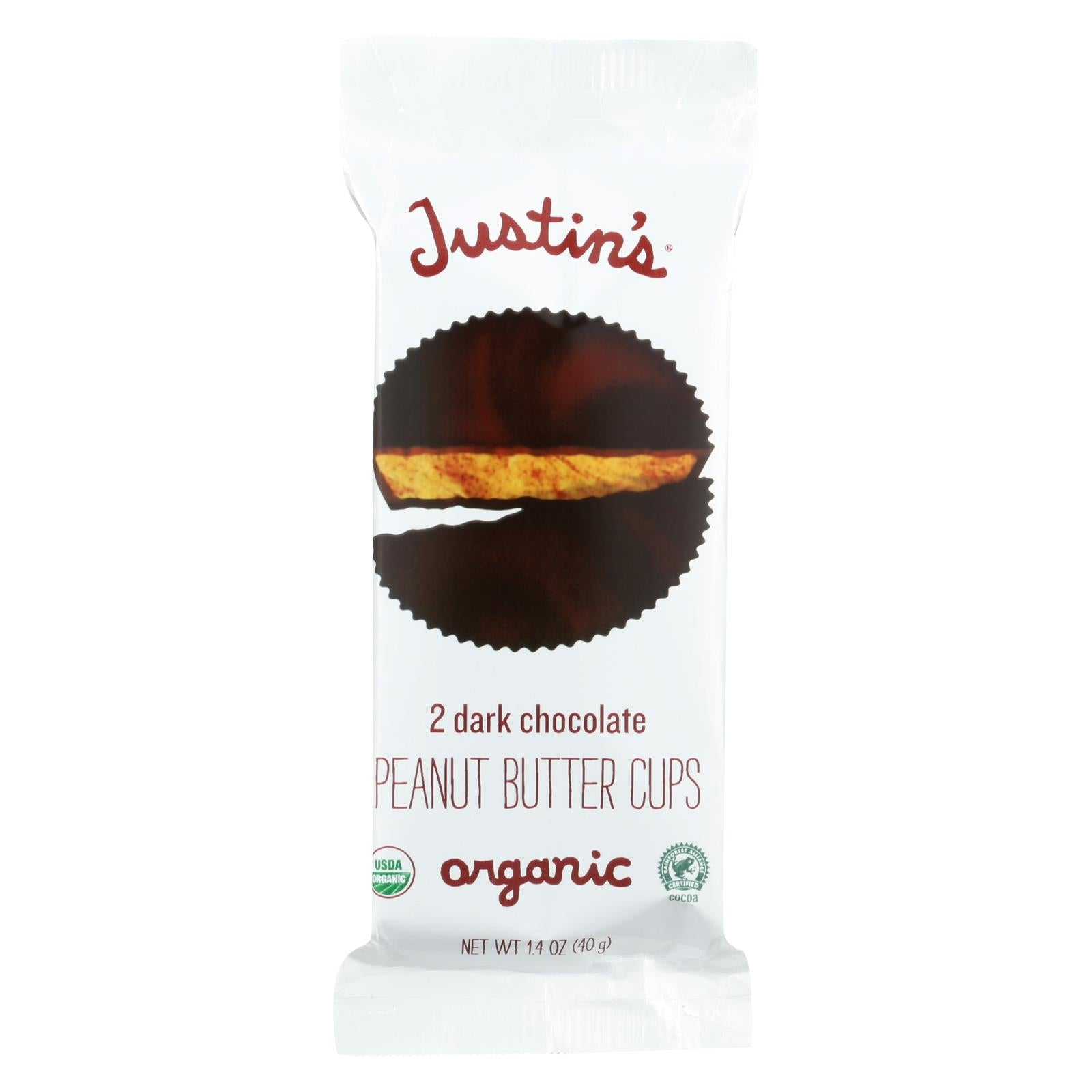 Justin's Nut Butter Organic Peanut Butter Cups Dark Chocolate 1.4 Oz Case Of 12 HG0647743