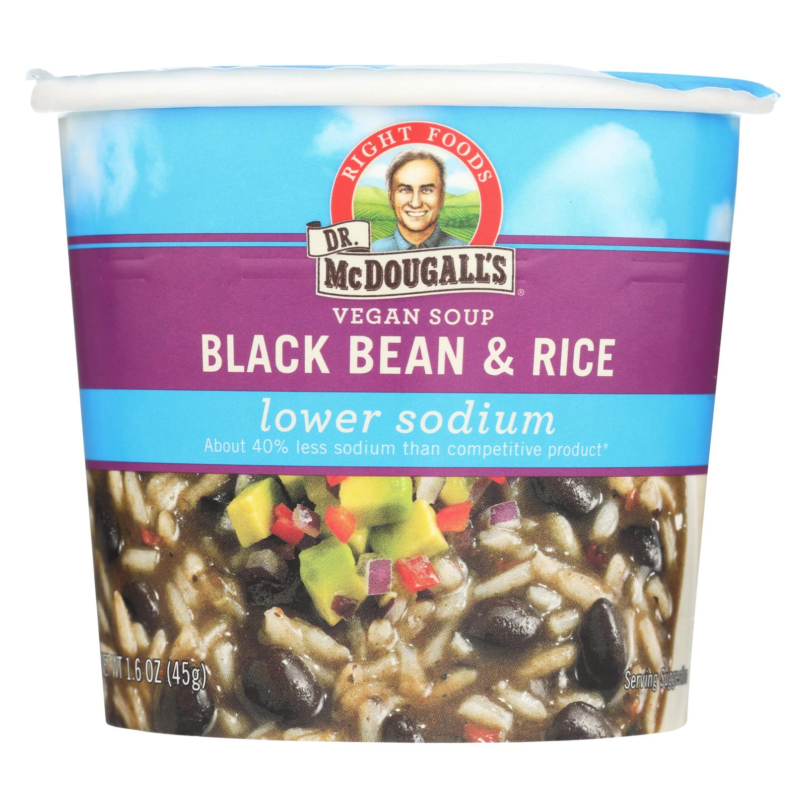 Dr. Mcdougall's Vegan Black Bean And Rice Lower Sodium Soup Cup - Case Of 6 - 1.6 Oz. HG0660704