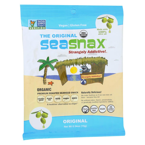 Seasnax Organic Premium Roasted Seaweed Snack - Original - Case Of 16 - 0.54 Oz.