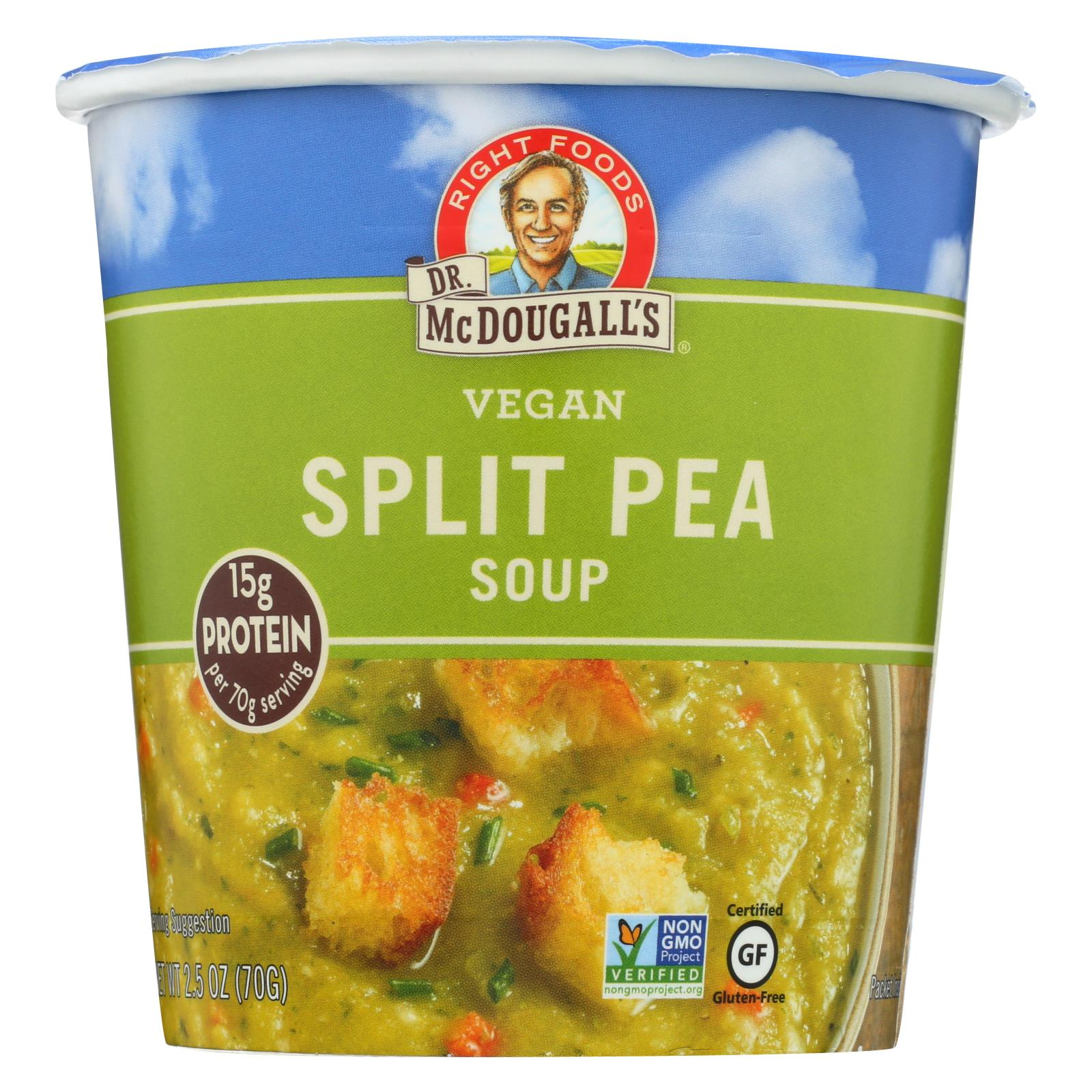 Dr. Mcdougall's Vegan Split Pea And Barley Soup Big Cup - Case Of 6 - 2.5 Oz. HG0746859