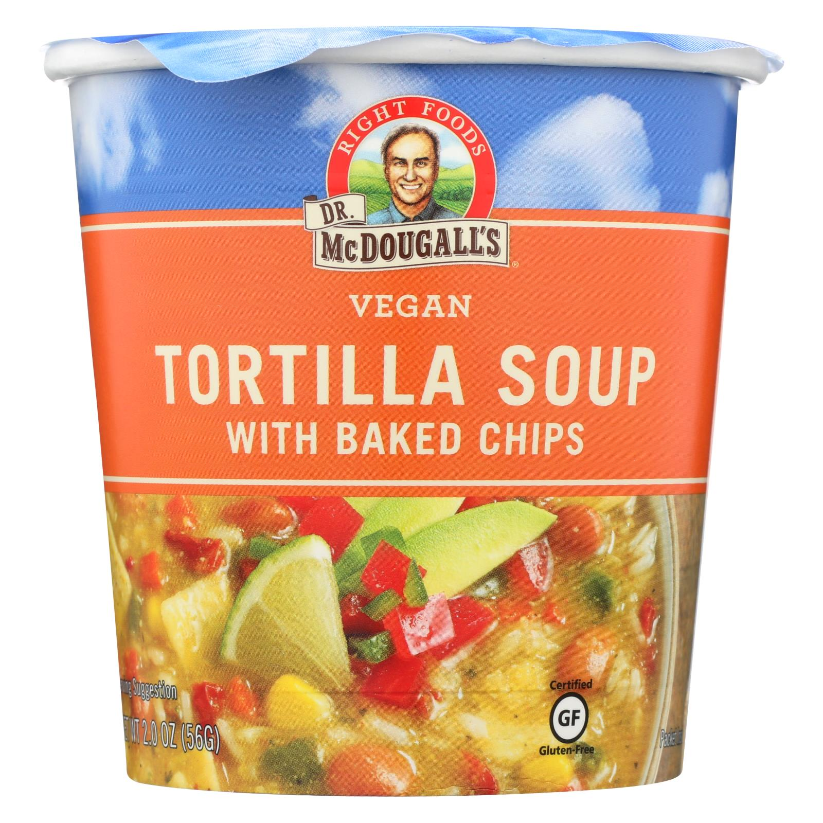 Dr. Mcdougall's Vegan Tortilla With Baked Chips Soup Big Cup - Case Of 6 - 2 Oz. HG0746875