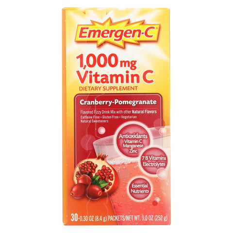 Alacer Emergen-c Vitamin C Fizzy Drink Mix Cranberry Pomegranate - 1000 Mg - 30 Packets