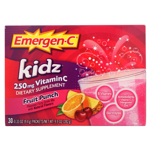 Alacer Emergen-C Kidz Vitamin C Fizzy Drink Mix Fruit Punch - 250 Mg - 30 Packets