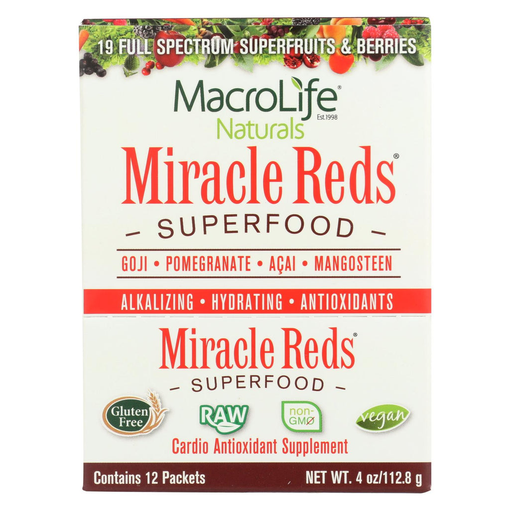 Macrolife Naturals Miracle Reds Antioxidant Super Food - 12 Packets Of .33 Oz - The Green Life