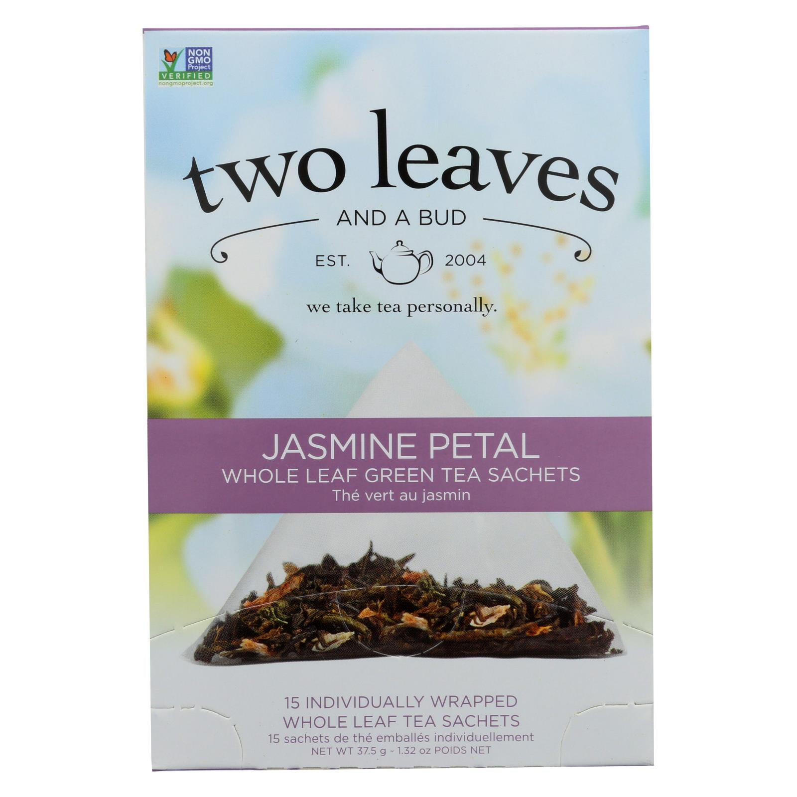 Two Leaves And A Bud Green Tea - Jasmine Petal - Case Of 6 - 15 Bags HG0872770
