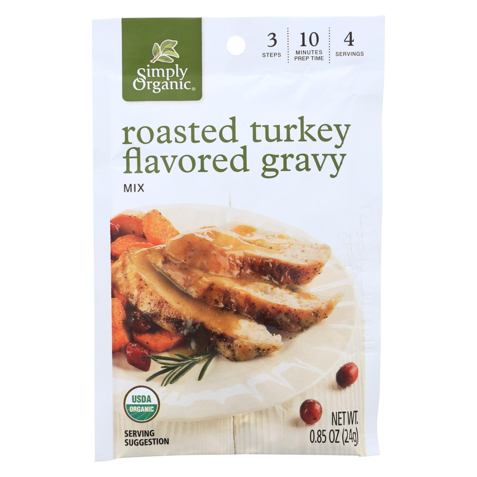 Simply Organic Roasted Turkey Flavored Gravy Seasoning Mix - Case Of 12 - 0.85 Oz. HG0916361