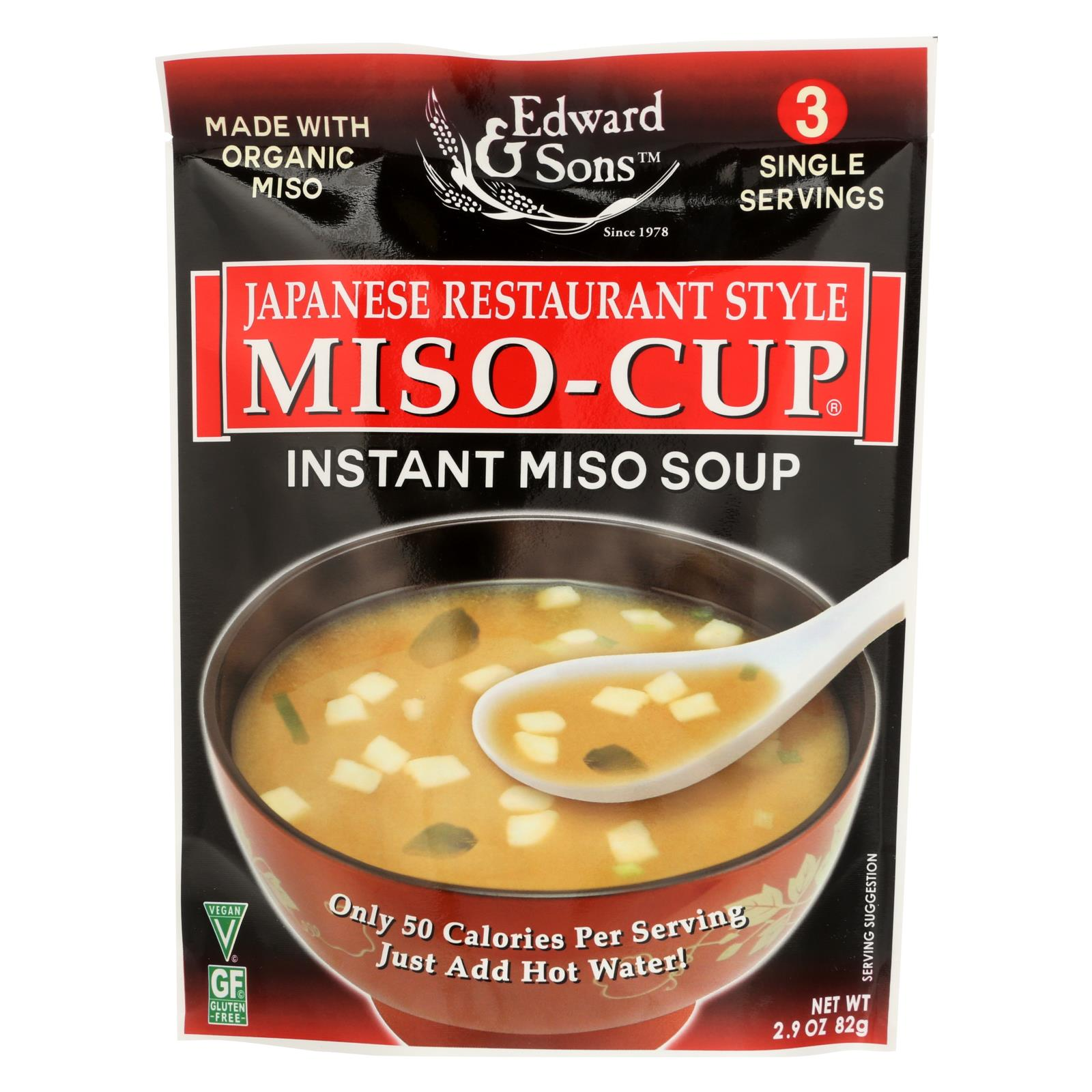 Edward And Sons Miso Cup Soup - Japanese Restaurant Style - Case Of 6 - 2.9 Oz. HG0922856