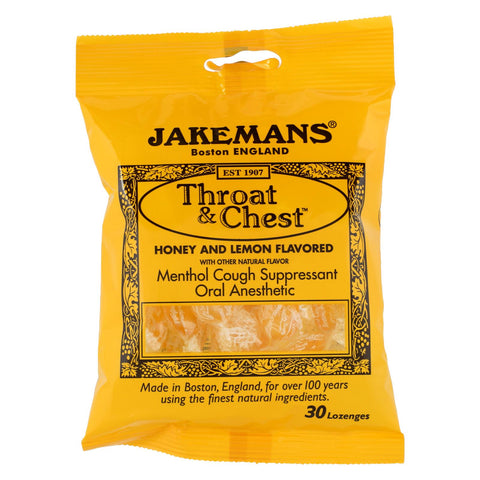 Jakemans Throat And Chest Lozenges - Honey And Lemon - Case Of 12 - 30 Pack