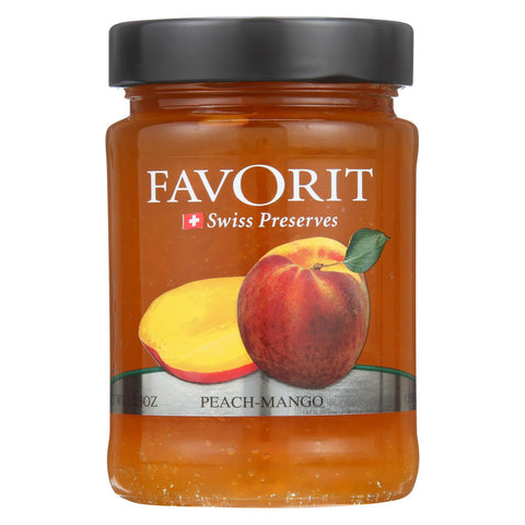 Favorit Preserves - Swiss - Peach-mango - 12.3 Oz - Case Of 6
