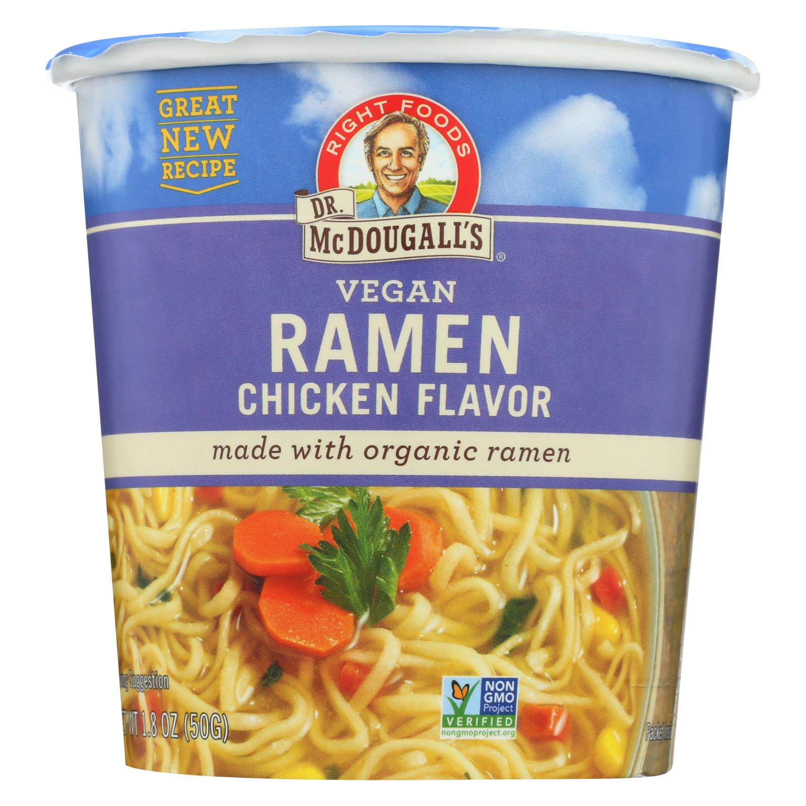 Dr. Mcdougall's Vegan Ramen Soup Big Cup With Noodles - Chicken - Case Of 6 - 1.8 Oz. HG1012244