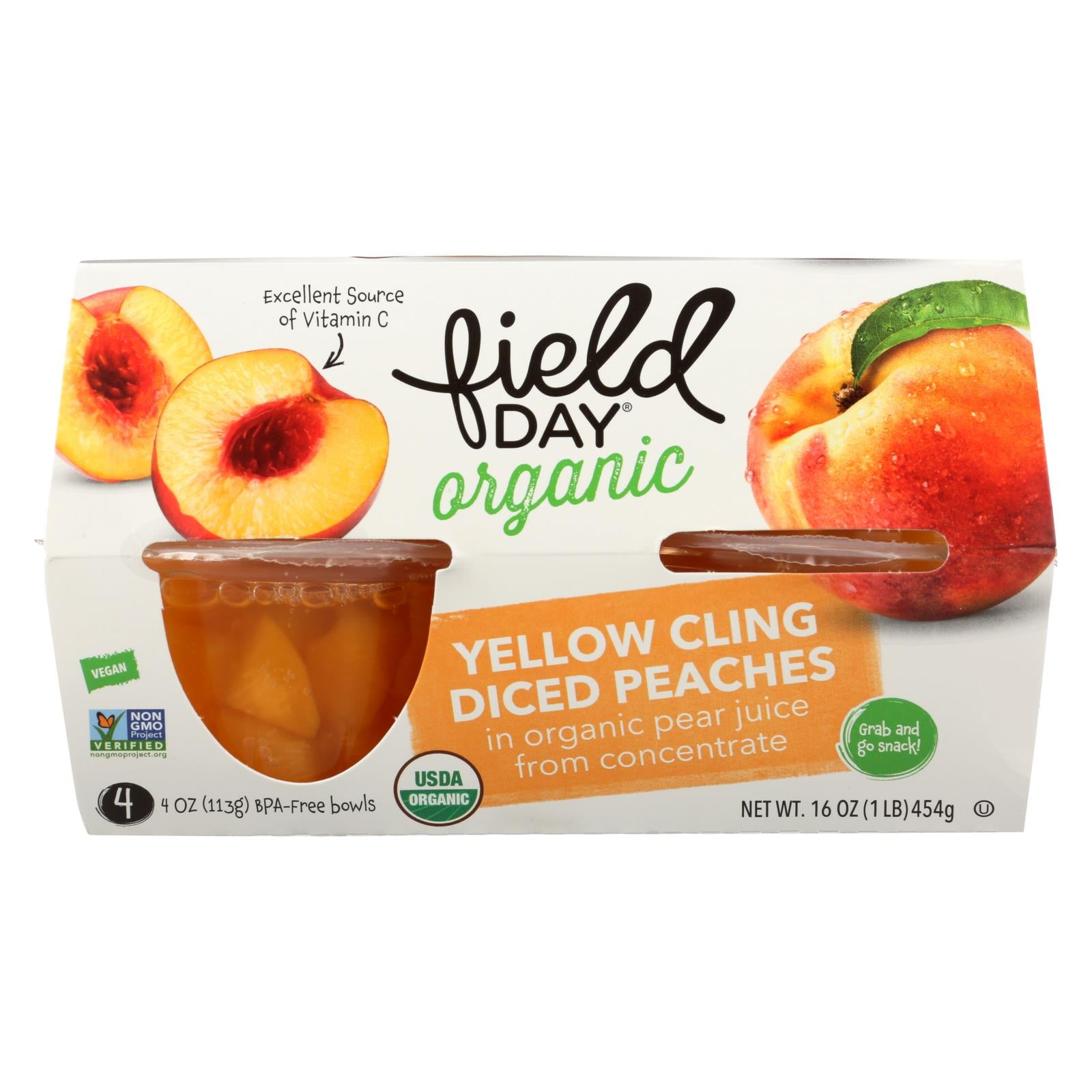 Field Day Fruit Cups Organic Yellow Cling Peaches Diced 4/4 Oz Case Of 6 HG1019884
