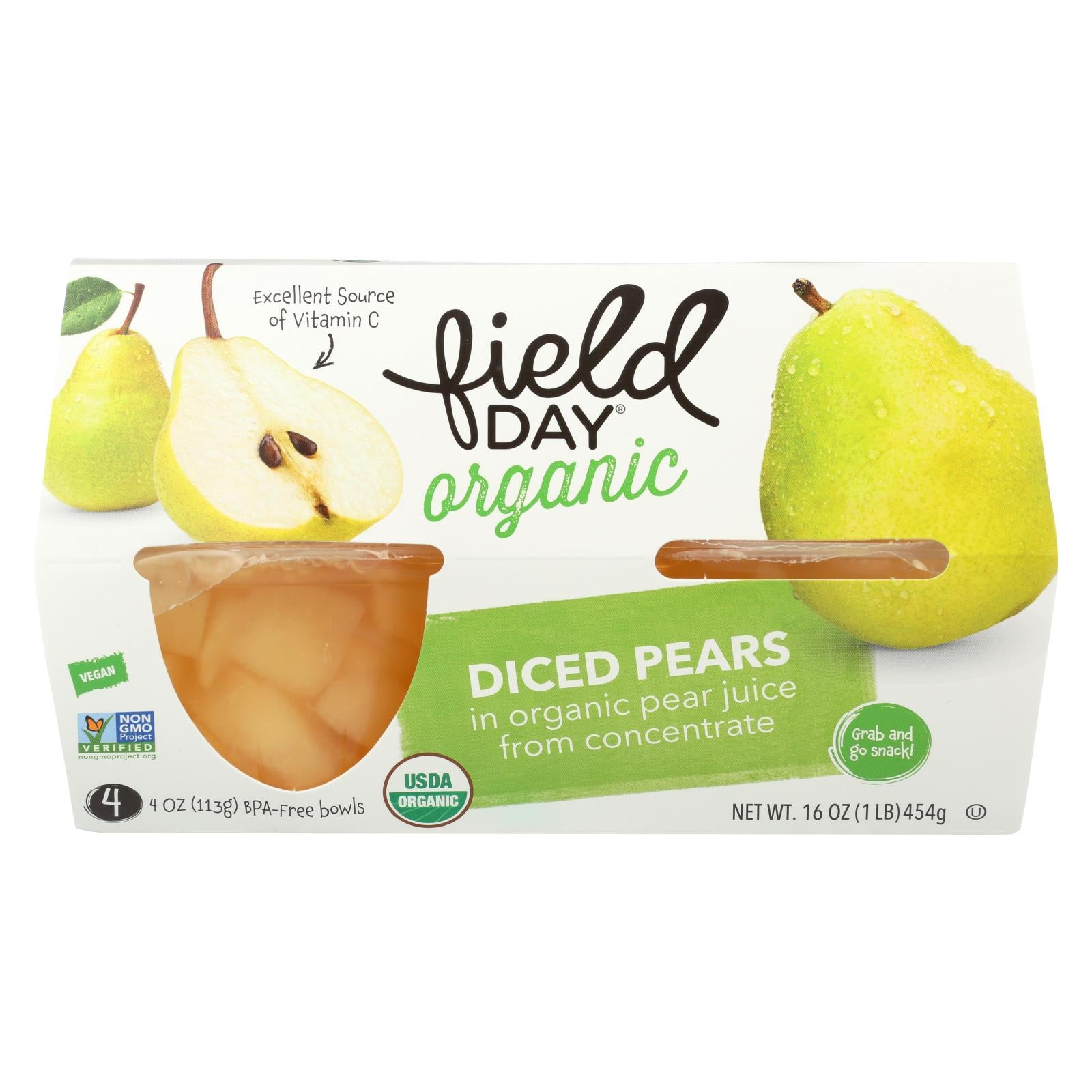 Field Day Fruit Cups Organic Pears 4/4 Oz Case Of 6 HG1019900