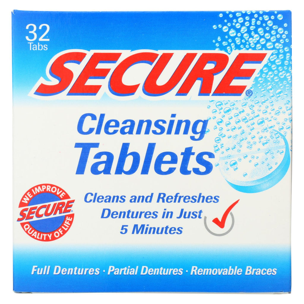 Secure Denture Adhesive Denture Cleanser - 32 Tablets - The Green Life