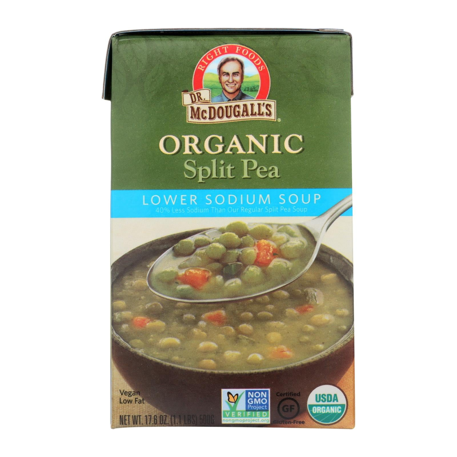 Dr. Mcdougall's Organic Split Pea Lower Sodium Soup - Case Of 6 - 17.6 Oz. HG1136266