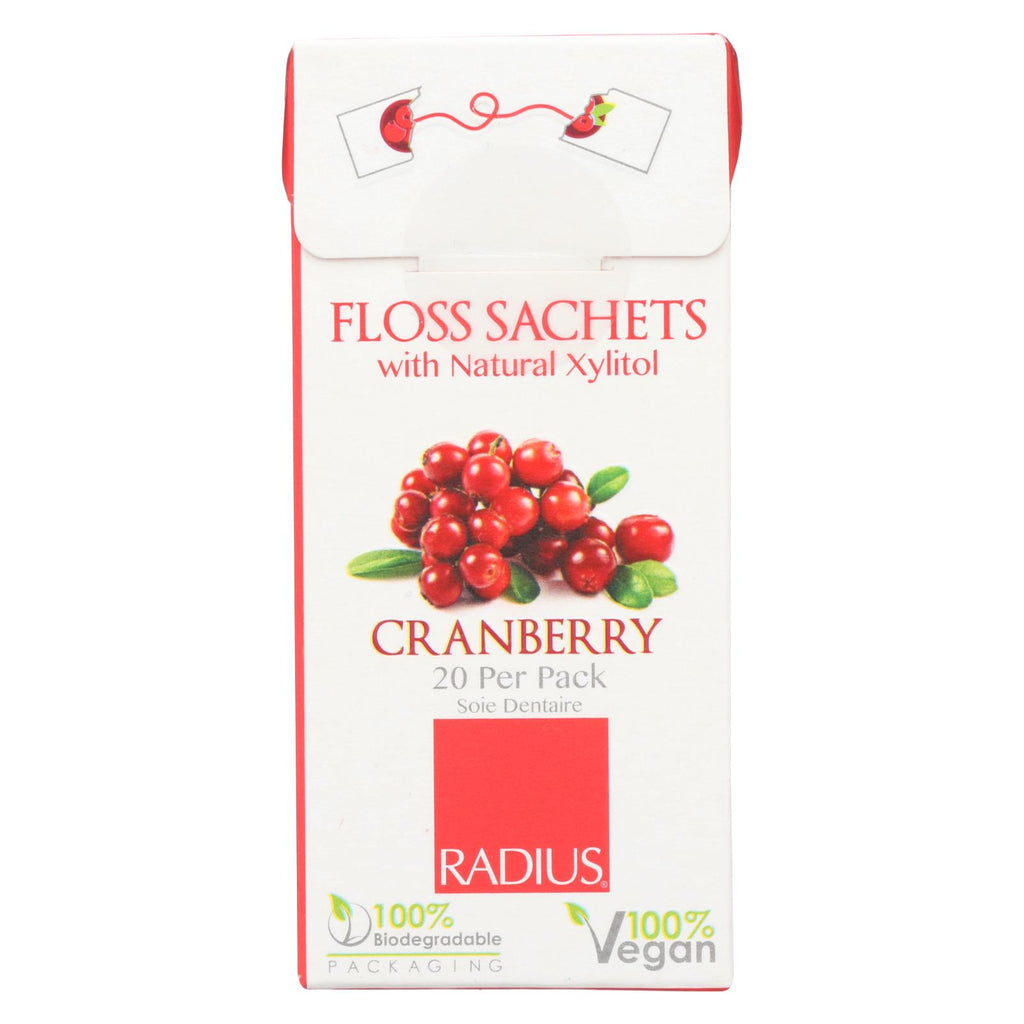 Radius Floss Sachets With Natural Xylitol - Cranberry - Case Of 20 - The Green Life