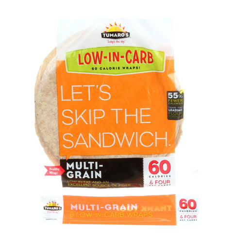 "Tumaros Low-in-carb Wraps - Multigrain - 8"" - 8 Ct. - Case Of 6"