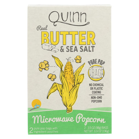 Quinn - Microwave Popcorn - Butter And Sea Salt - Case Of 6 - 6.9 Oz.