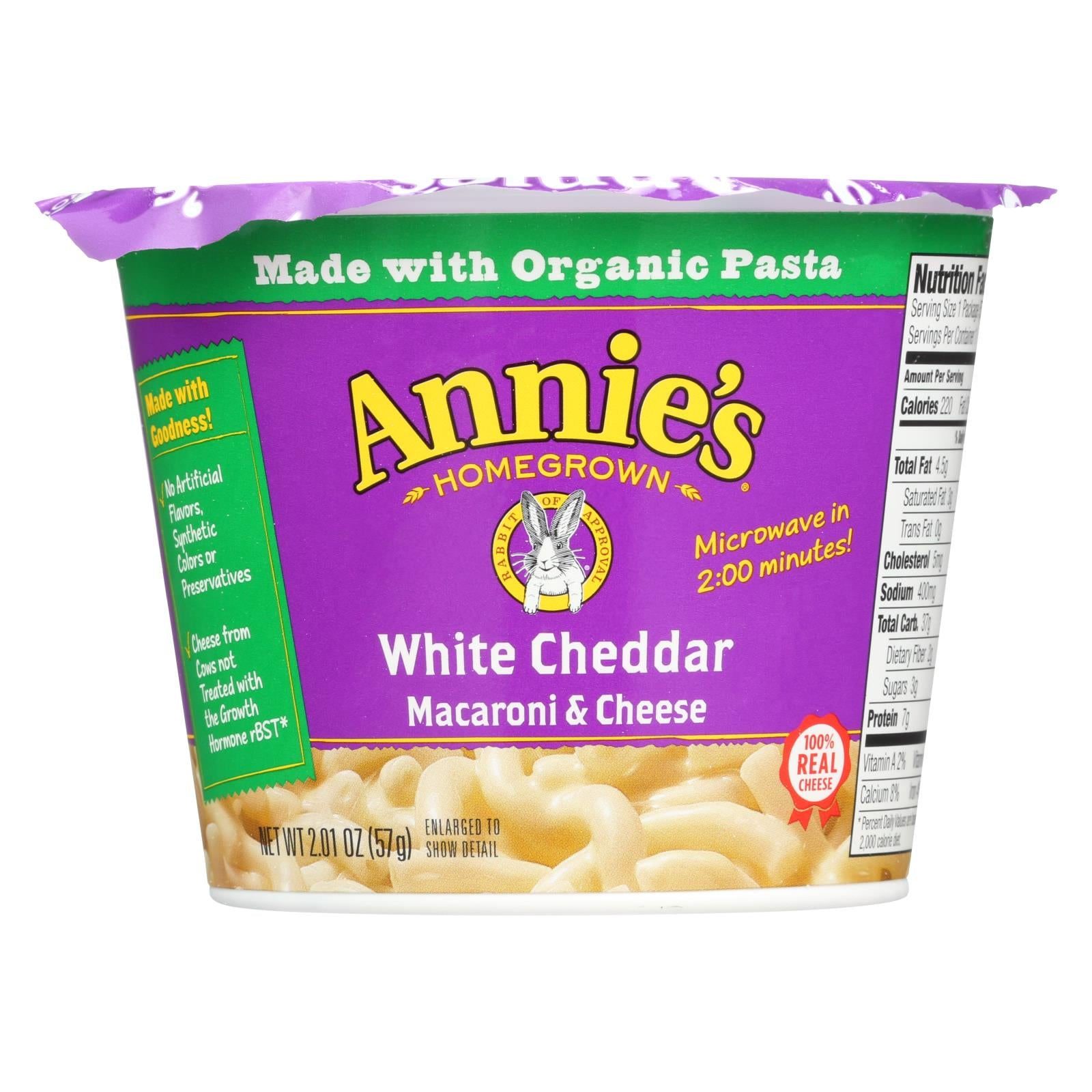 Annie's Homegrown White Cheddar Microwavable Macaroni And Cheese Cup - Case Of 12 - 2.01 Oz. HG1254853