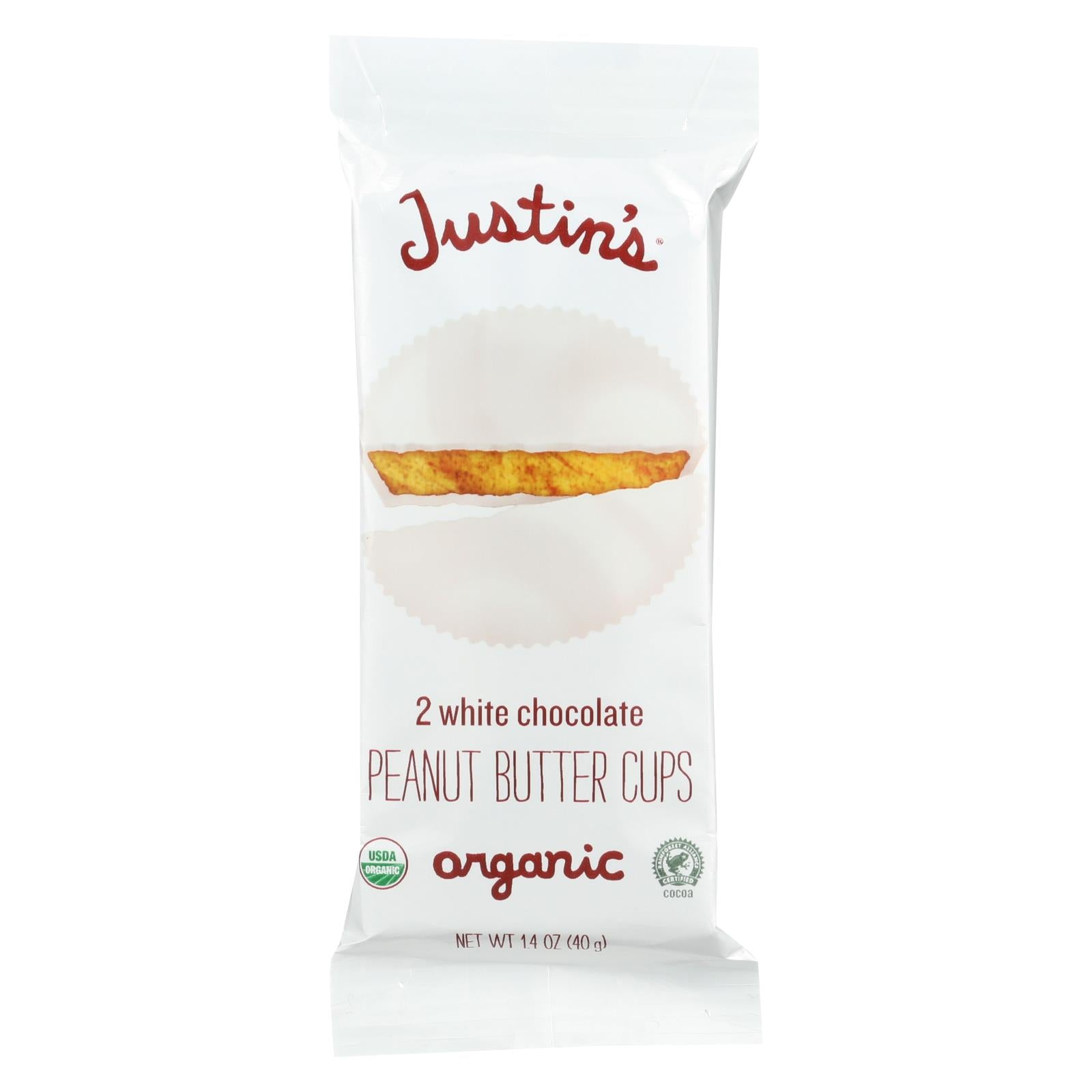 Justin's Nut Butter Organic Peanut Butter Cups White Chocolate 1.4 Oz Case Of 12 HG1351683