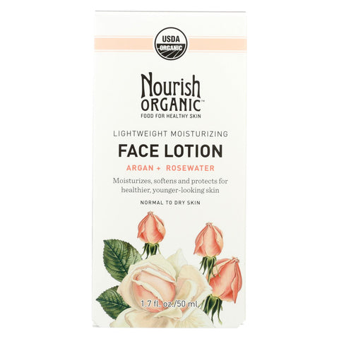 Nourish Facial Lotion - Organic - Lightweight Moisturizing - Argan And Rosewater - 1.7 Oz - 1 Each