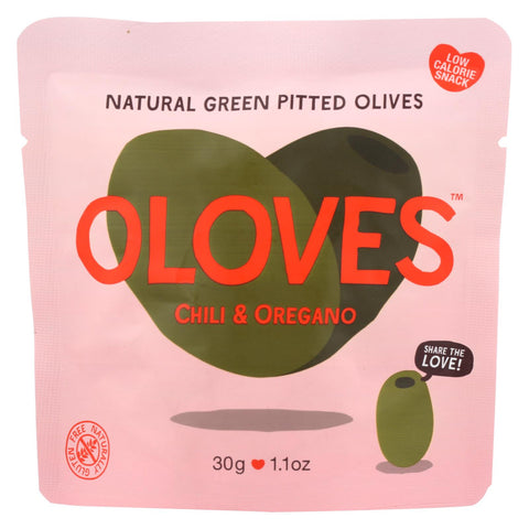 Oloves Green Pitted Olives - Chili And Oregano - Case Of 10 - 1.1 Oz.