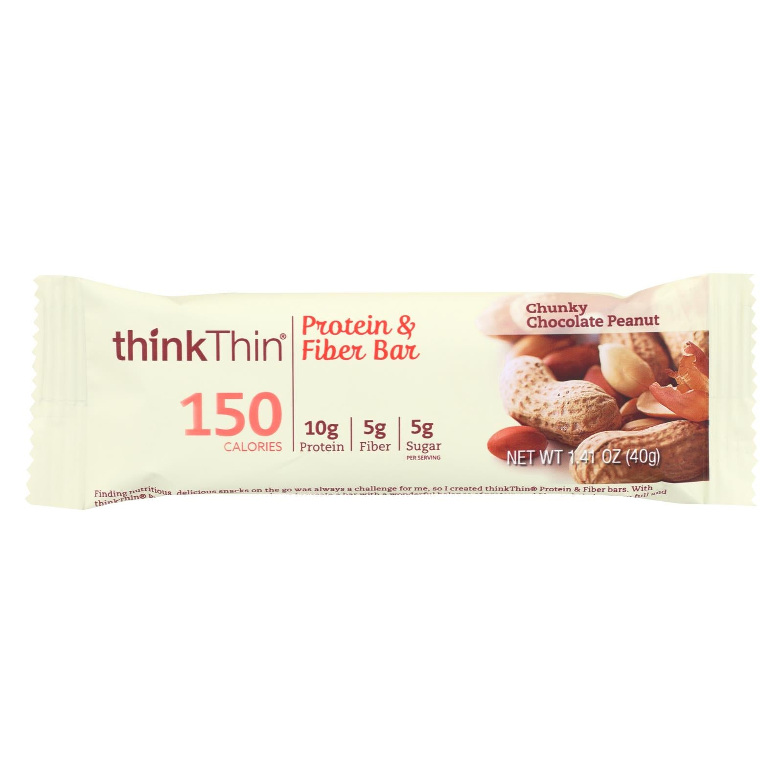 Think Products Thinkthin Bar - Lean Protein Fiber - Chocolate Peanut - 1.41 Oz - 1 Case HG1536861