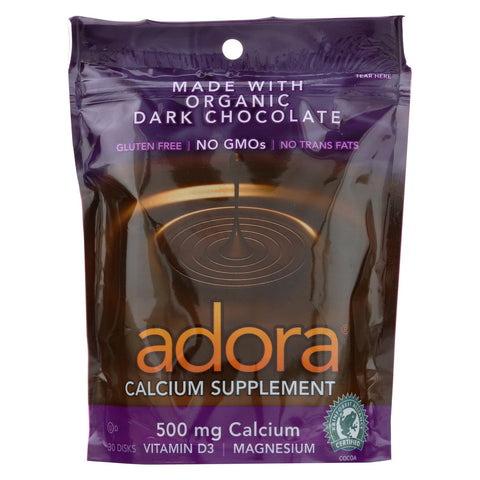 Adora Calcium Supplement Disk - Organic - Dark Chocolate - 30 Ct - 1 Case - The Green Life