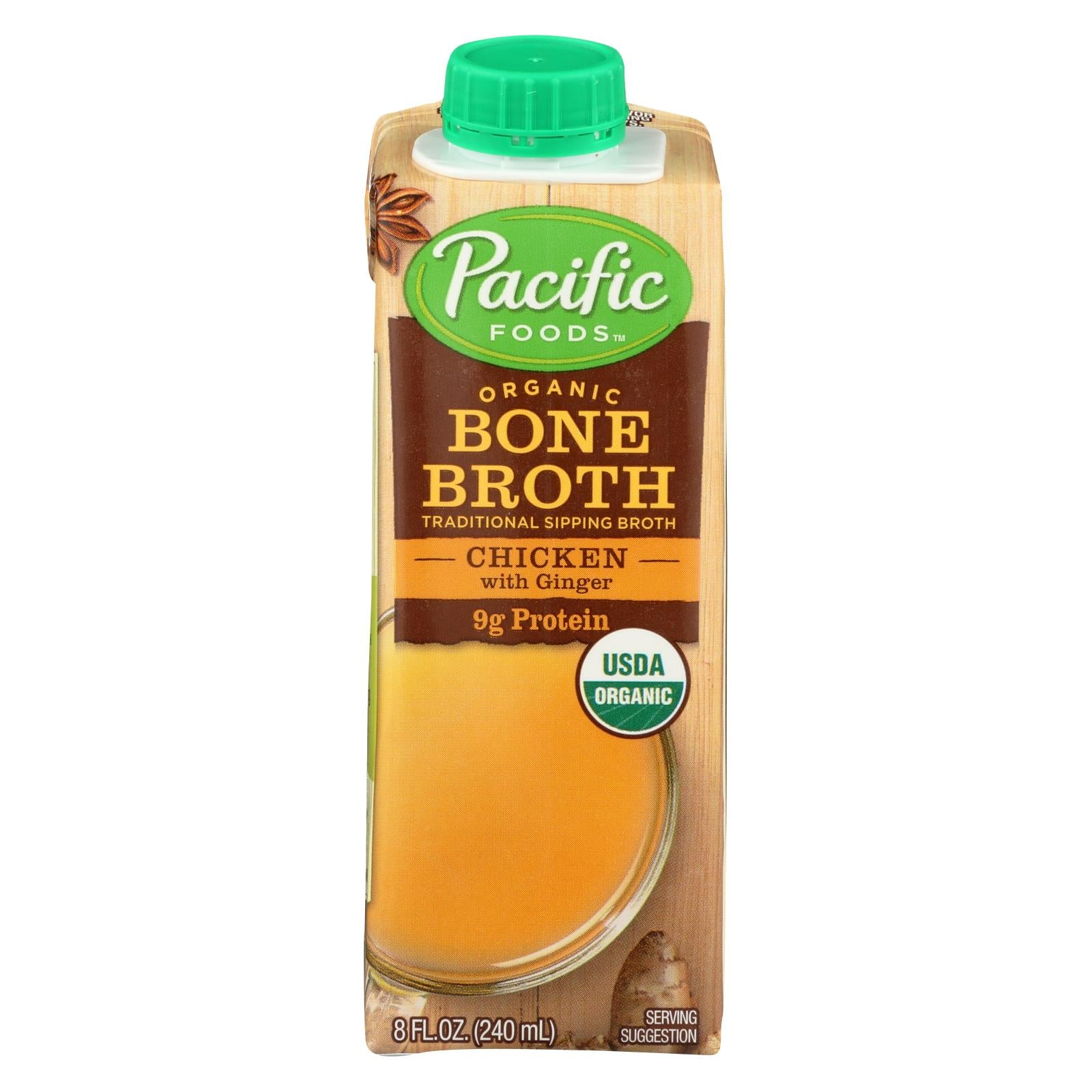 Pacific Natural Foods Bone Broth - Chicken With Ginger - Case Of 12 - 8 Fl Oz. HG1613660