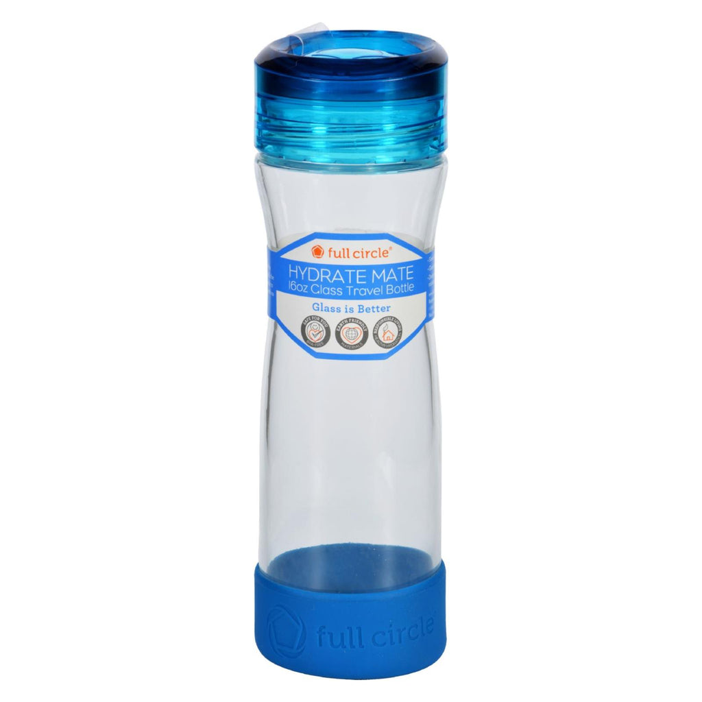 Full Circle Home Water Bottle - Travel - Glass - Hydrate Mate - Blueberry - 16 Oz - The Green Life