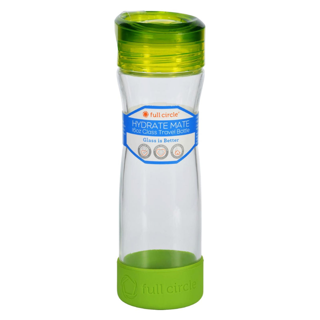 Full Circle Home Water Bottle - Travel - Glass - Hydrate Mate - Green Slate - 16 Oz - The Green Life