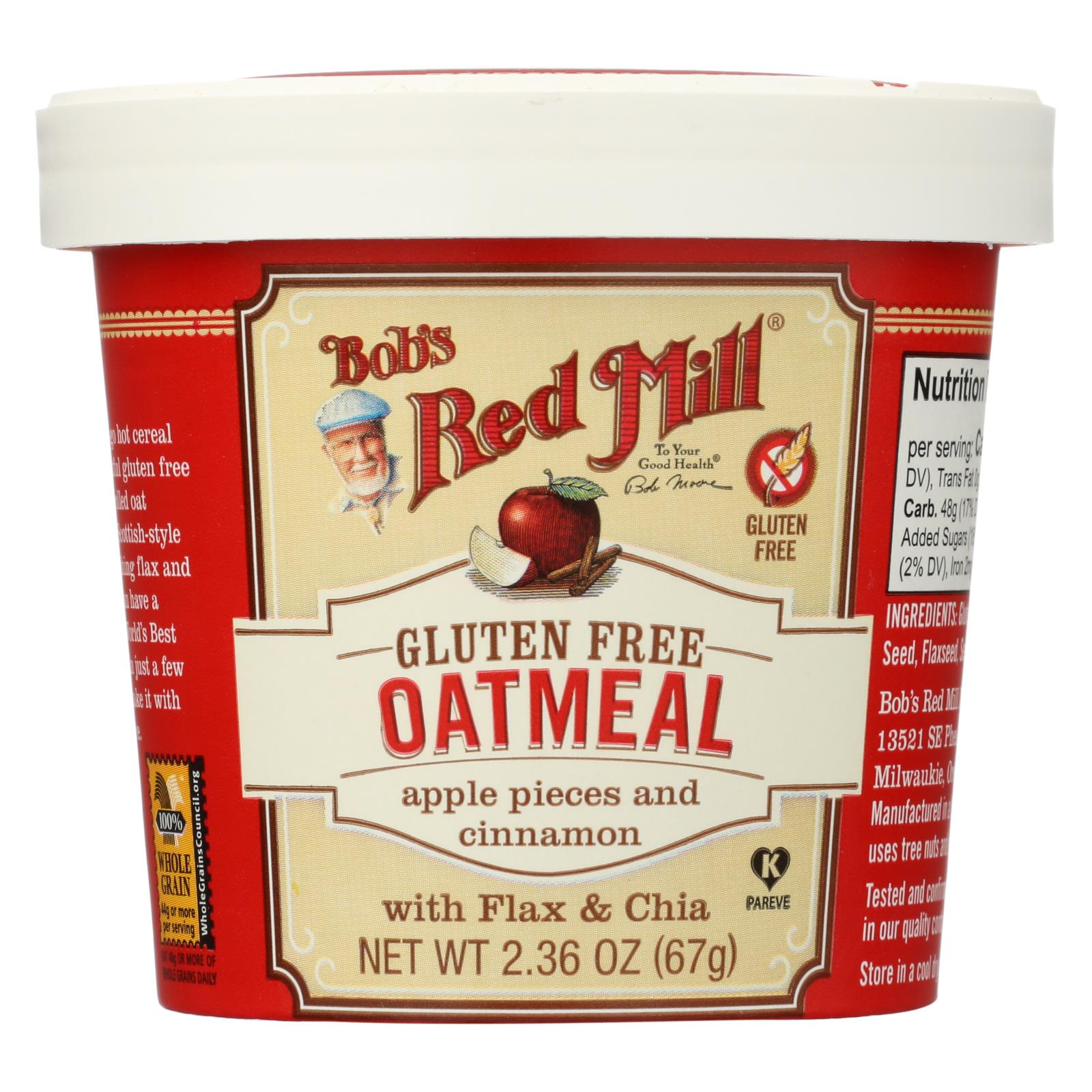 Bob's Red Mill Gluten Free Oatmeal Cup, Apple And Cinnamon - 2.36 Oz - Case Of 12 HG1770577