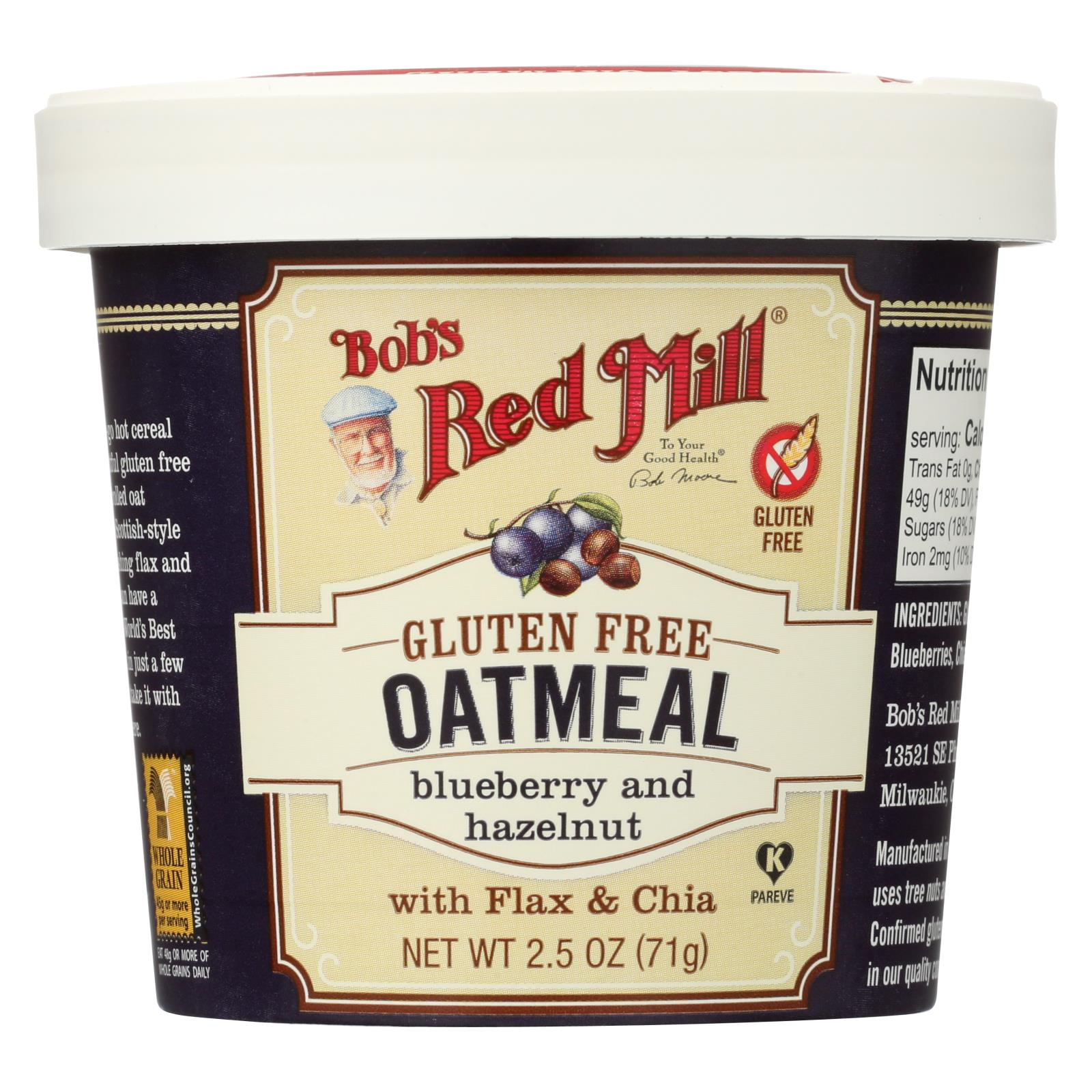 Bob's Red Mill Gluten Free Oatmeal Cup, Blueberry And Hazelnut - 2.5 Oz - Case Of 12 HG1770593
