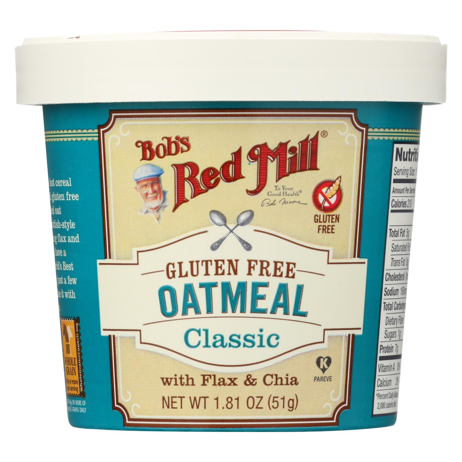 Bob's Red Mill Gluten Free Oatmeal Cup, Classic With Flax-chia - 1.81 Oz - Case Of 12 HG1770619